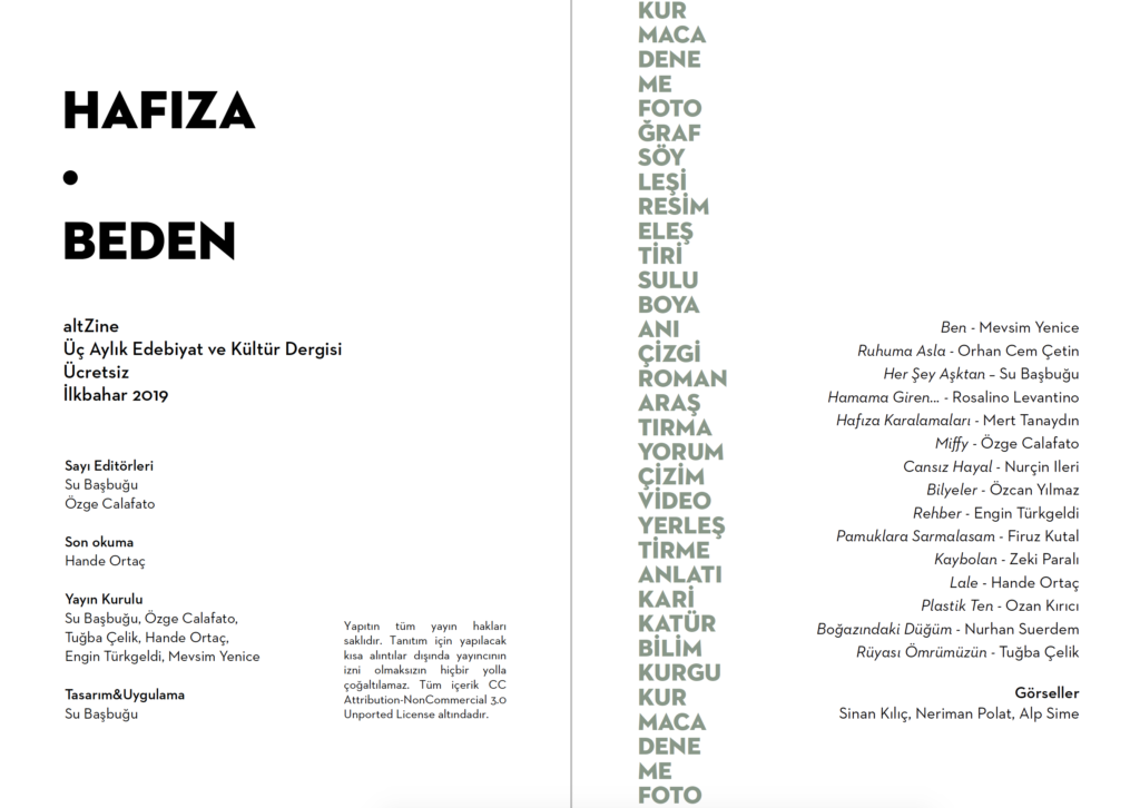 Ilkbahar 2019 Hafiza Beden Altzine